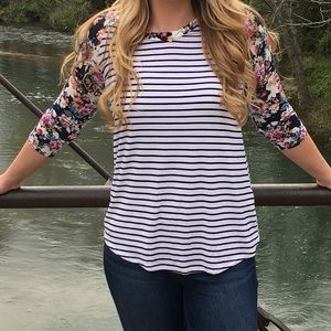 Floral & Striped Raglan Top